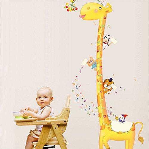 Height Chart Wandaufkleber Kids Wachstum Diagramm Wandtattoo Messen Wandaufkleber Eule, Giraffe, Löwe und Affe Baum Maßband Messlatte Wandsticker Vinyl Poster herausnehmbar für Kinderzimmer Dekoration (Giraffe)