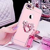 iPhone 8 Plus Hülle,iPhone 7 Plus Hülle,[Ring Ständer] Glänzend Glitzer Strass Diamant Überzug Spiegel TPU Silikon Case Hülle Handyhülle Schutzhülle für iPhone 8 Plus/7 Plus,Rose Gold Bowknot #1