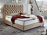 Boxspringbett 160x200 Beige Vegas Hotelbett Doppelbett Matratze Topper Modern Luxus Bett