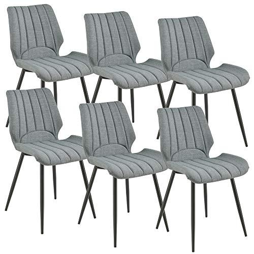 [en.casa] 6X Stühle Dunkelgrau Gepolstert mit Textilbezug Lehnstuhl Esszimmer-Stuhl Polsterstuhl 6er Set Lounge Set -