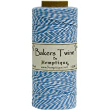 Hemptique Bakers Twine - Bobina de hilo de algodón de fuerza media (125 m, 50 g, grosor aprox. de 1 mm), color azul y blanco