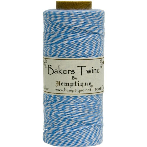 Hemptique Bakers Twine - Bobina de Hilo de algodón de Fuerza Media (125 m, 50 g, Grosor Aprox. de 1 mm), Color Azul y Blanco
