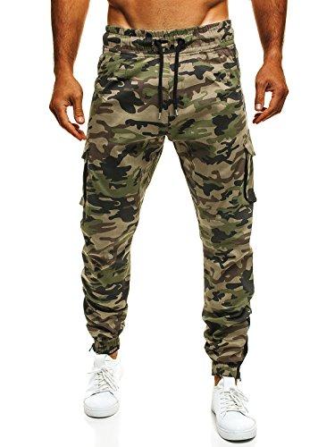 OZONEE Uomo Jogger Chino Jogging Pantaloni Cascante Pantaloni Sport Jogging Fitness ATHLETIC 705 - cotone, Camo Verde, 100% cotone.\n\t\t\t\t 100% cotone, Uomo, XL