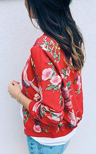 ECOWISH Damen Casual Jacke Blumenmuster Langarm Bomberjacke Reißverschluss Stehkragen Outwear Kurz Coat Herbst Frühling Rot S - 3