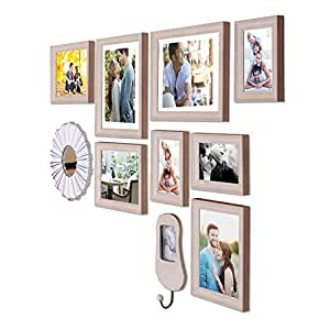 Art Street - Gallery Wall Set Set of 8 Individual Beige Wall Photo Frames with Decorative Mirror & Hanging Photo Frame (Mix Size) (3 Units 4X6,3 Units 6x8, 3 Units 8X10 inch)