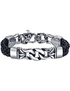 [Gesponsert]Coolman Herren Leder Armband Schwarzes u. Silbernes Stulpe Armband Wristband für Männer(Mit hochwertiger Schmuck...