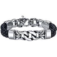 Coolman in acciaio INOX e cinturino in pelle nero e argento braccialetto per gli (Rolex Omega Orologi Omega Watch)