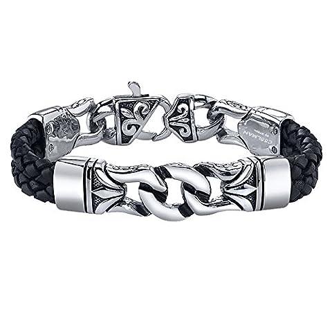 Coolman Herren Leder Armband Schwarzes u. Silbernes Stulpe Armband Wristband für Männer(Mit hochwertiger Schmuck (Rolex Omega Orologi Omega Watch)