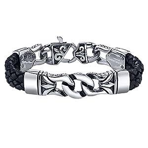 COOLMAN Herren Leder Armband Schwarzes u. Silbernes Stulpe Armband Wristband für Männer (Mit hochwertiger Schmuck schatulle) – 23 cm