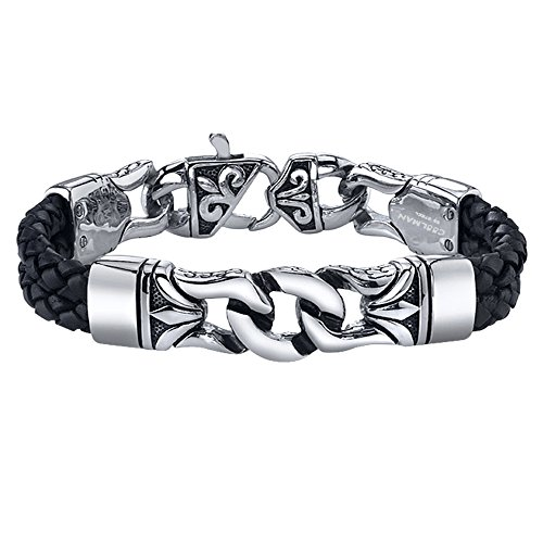 Coolman Stainless Steel and Leather Bracelet Black & Silver Cuff Bracelet Wristband for Men