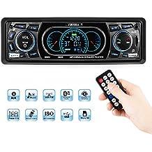 Favoto Transmisor FM Bluetooth para Coche Universal de DC 12V Manos Libres Reproductor de MP3 USB Cargador Tarjeta SD AUX Salida (3.5mm) con Control Remoto Negro