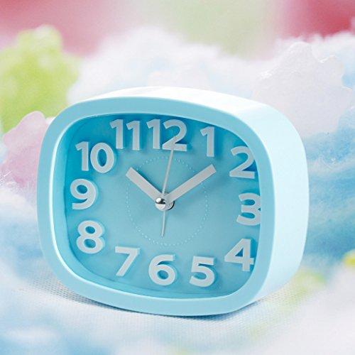 sunhoyu Funk Wanduhr Küchenuhr, Candy Farbe Wecker - BlauDekoration fürs Wohnzimmer Kinderzimmer