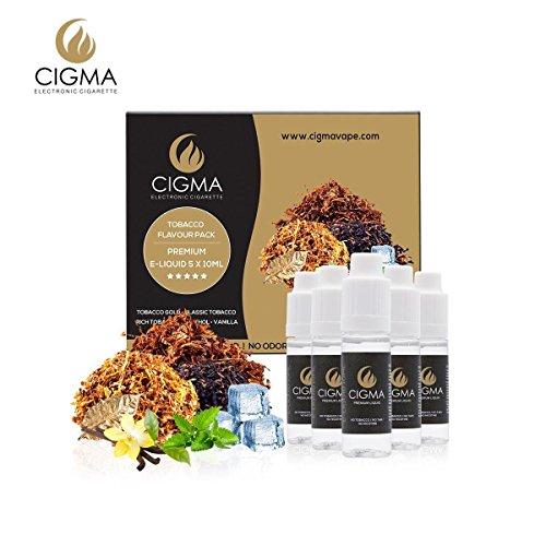 CIGMA 5 X 10ml E Liquid, 0mg (Ohne Nikotin) Klassik Tabak | Gold Tabak | Rich-Tabak | Menthol | Vanille | Neue Formel für starken Geschmack mit hochwertigen Zutaten | Für elektronische Zigaretten und E Shisha hergestellt.
