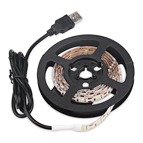 USB-Energie führte Neonbeleuchtung, imprägniern 5M 60leds / m SMD 3528 5V kühlen weiße Desktop-PC-Schirm-Hintergrundbeleuchtung, Fernsehhintergrundbeleuchtung, Band-Licht, Seil-Beleuchtung, Küche ab, die Dekor-Band LED-Streifen-Lampe beleuchtet