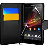 Sony Xperia Z Black Wallet Pocket Leather Case Covers, Screen Protector , Polishing Cloth and High Capacitive Touch Screen Stylus