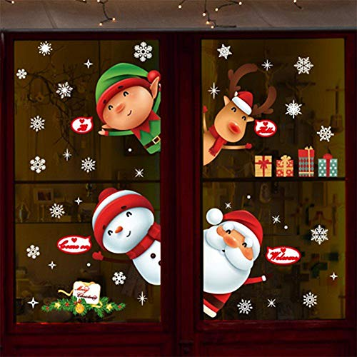 970f32f2ba1be2 Zlulu Sticker Mural De Noël Stickers Muraux Décor À La Maison Boutique  Vitrine Cartoon Noël Animaux