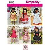 Simplicity patrón 1486, 45.72cm, estilo vintage, vestidos de muñecas, talla única