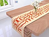 #2: Clasiko Table Runner; 16x72 Inches; Orange Abstract On Beige Base; 300 TC Cotton Fabric; Table Top Home Décor; Color Fastness Guarantee