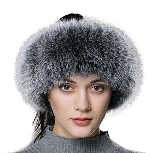 URSFUR Frauen Warme Flaumige Fell Band aus Echte Fuchspelz Ohrenschützer Stirnband -grau Frost