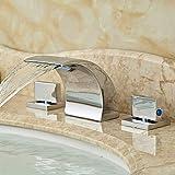 ZLL Moderne cascade généralisée avec Valve en céramique deux gère trois trous pour Chrome, Robinet lavabo