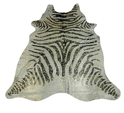 Zerimar Alfombra piel de vaca Medidas: 200x170 cms Estampada imitación cebra Metalizada 100% Natural Piel procedente de brasil, consideradas las mejores pieles bovinas del mundo por su curtición y brillante pelo