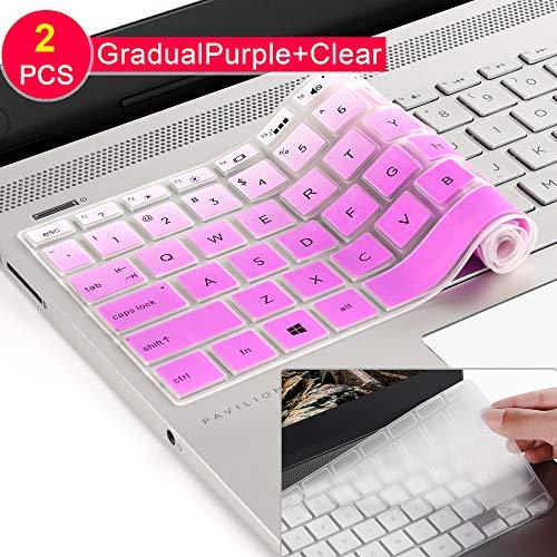 [2] Tastatur Schutzhülle für HP Envy X3602-in-1-39,6cm Laptop Serie/2018 HP Pavilion 39,6cm Serie/2018HP Envy 43,9cm 17M 17-BS 17-BW Serie Touchscreen Notebook schützende Haut gradualpurple (Skin Für Hp Touchscreen Laptop)