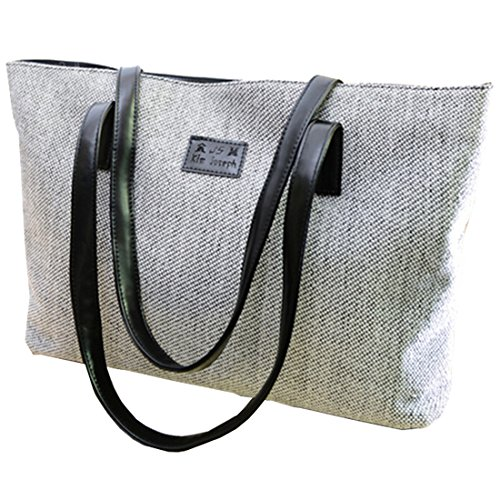 Messenger Bag - TOOGOO(R)donna Collegio Vento canvas di lino Messenger Bag£¨beige£© grigio