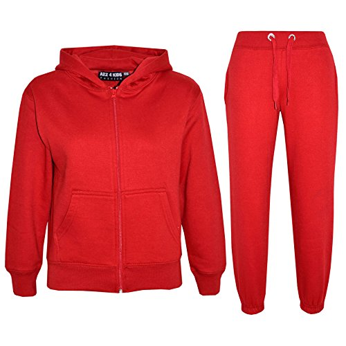 A2Z 4 Kids® Kinder Mädchen Jungen einfarbig Trainingsanzug Kapuzenpullover - T.S Plain Red 3-4