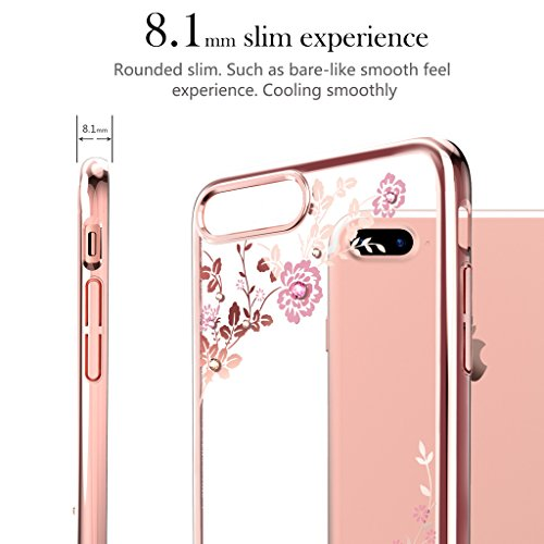 "Kingxbar for iPhone 8 Plus/7 Plus Coque, Cair Cristaux de SWAROVSKI Element Anti Scratch Anti poussière avec 1mm Ultra Mince PC dur Transparent Housse Etui for 5.5"" iPhone 7/8 Plus((Net-Black)) Flower-Rose"