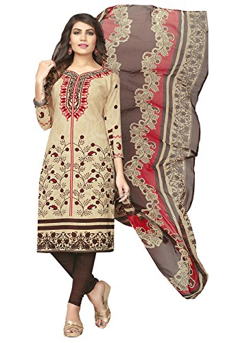 Ishin Synthetic Beige & Brown Printed Party Wear Casual Wear New Collection Unstitched Salwar Suit Dress Material (Anarkali/Patiyala) With Dupatta