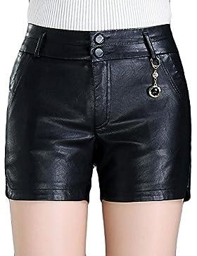 HAHAEMMA Pantaloncini Corti da Donna Autunno Inverno in Ecopelle Pantaloni Corti a Vita Alta