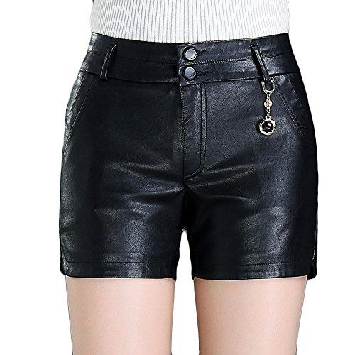 EMMA Damen Herbst Winter Leder Shorts Kunstleder Hotpants Hohe Taille Kurz Mini Hose(BL,8XL) (Damen Leder Mäntel Plus Size)
