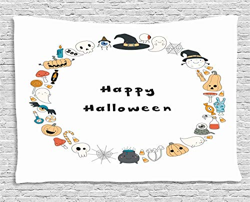 MLNHY Halloween Tapestry, Happy Halloween Spooky Theme Pumpkin Ghosts Spider Web Line Drawing Circle Frame, Wall Hanging for Bedroom Living Room Dorm, 80 W X 60 L Inches, Multicolor