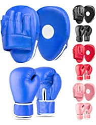 Lions Boys Boxing Gloves and Pads - Set of Sparring Punching Mma Focus Hook & Jab Training Mitts 4oz 6oz 8oz