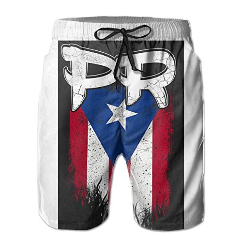 Beach Yoga Pants Puerto Rico PR Flag Boricua Beach Pajama Shorts for Men Boys, Outdoor Short Pants Beach Accessories,Size:XXL -
