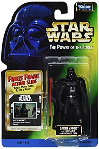 """Star Wars - The Power of the Force - Picture Card - Kenner - Collection 3 - Darth Vader with Lightsaber and Removable Cape - 3 3/4"""" Figure - 69802"""