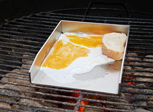 51BhsgORXWL - tradeNX Grillplatte aus Edelstahl - Massives Plancha & BBQ Zubehör zum Grillen von Fleisch, Fisch, Gemüse & Obst - 20 x 15 cm