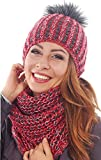 Damen Strickmütze & Loop mit großer Kombiset Kunstfell Bommel Strickset Beanie mit Fellbommel + Schlauchschal, Einheitsgröße K3 (Rot)
