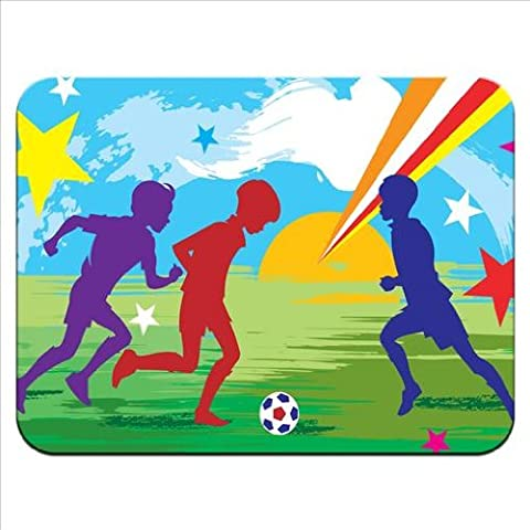 Silhouette of Kids Playing Football With Stars & Sun Premium Quality Thick Rubber Mouse Mat Pad Soft Comfort Feel