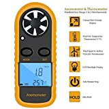 recyco Digital Anemometer, LCD Wind Speed Meter Handheld Air Flow Velocity Measurement Thermometer Wind Speed Scale Gauge for Sailing Fishing Surfing Kite Flying