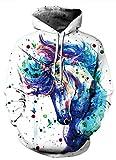 AMOMA Damen Digitaldruck Kapuzenpullover Tops Unisex Hoodie Pullover Hooded Sweatshirt (Small/Medium, Color Unicorn)