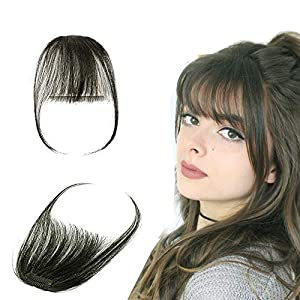 Clip in Fringe Bangs Human Hair 100% Remy Invisible Front Hair Extension with Both Side One Piece Real Fringe Hair Piece for Women Straight (#1B Natural Black)