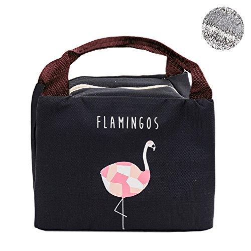 Artone flamingo oxford riutilizzabile pranzo al sacco totalizzatore morbido bento più fresco borse isolato buongustaio sacco per il pranzo con isolamento di stagno nero