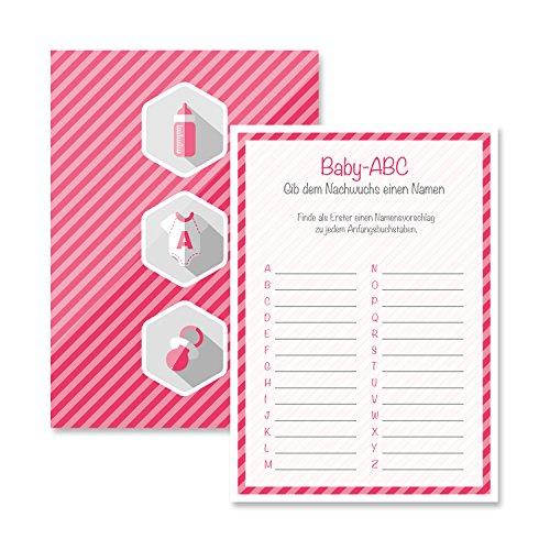 r Spiel-Set 8 Stück Baby-ABC mädchen rosa pink Partyspiel Quiz Spiel Deko Party Karte Geschenk Spielkarte Artikel von Mia-Félice Decorations (Spielkarte Spiele)