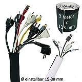 Kabelschlauch Weiß - Schwarz, Kabelkanal Flexibel, Neopren 3 Meter x 135 mm mit innovativem Klettverschluss und einstellbarem Durchmesser | Kabel verstecken
