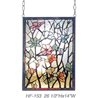 "Gweat HF-153 Rural Vintage Tiffany Style Stained Church Art Glass Decorativos Flowers & BranchesRectangle Window Colgante Panel de Vidrio Suncatcher, 26.5"" Hx14 W"
