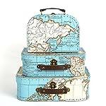 Sass & Belle 3er-Set Koffer als Aufbewahrungsboxen mit Aufdruck Weltkarte