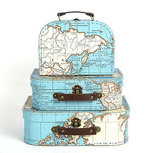 Sass & Belle Set aus 3Weltkarte Koffer Aufbewahrungsboxen