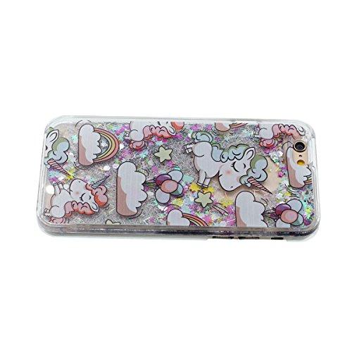 Mignon Dessin animé Licorne Serie - Rigide Transparent Coque Étui pour Apple iPhone 6S 4.7�? iPhone 6 Case Eau Liquide Style Brillant Poudre / Étoiles Écoulement Conception Style Color-1