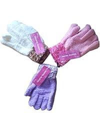 3 Gants Simples avec Attache en Fourrure pour Enfants/Filles, Crème, rose, Violet